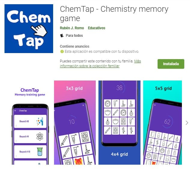 chemtap memory game